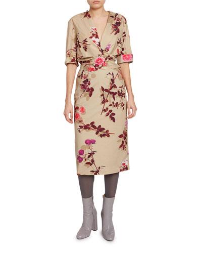 Floral-Print Wrapped V-Neck Dress