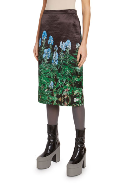 Bluebonnet-Print Silk Skirt
