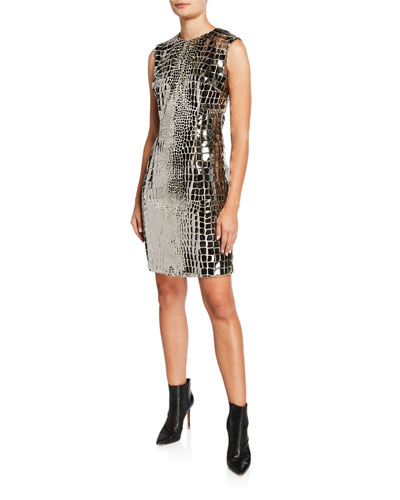 Metallic Snakeskin Cocktail Dress