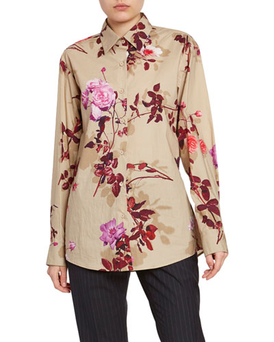 Floral Button-Front Long-Sleeve Cotton Top