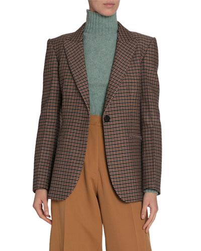 Checked Wool Blazer Jacket
