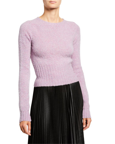 Fuzzy Wool Fitted Crop Sweater