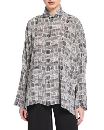 Scrunched-Neck Silk Shirt