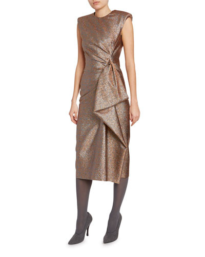 Metallic Ruched-Side Dress