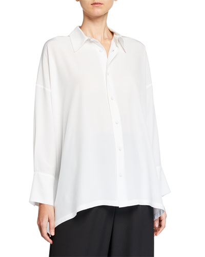 Wide A-Line Back-Pleated Silk Shirt