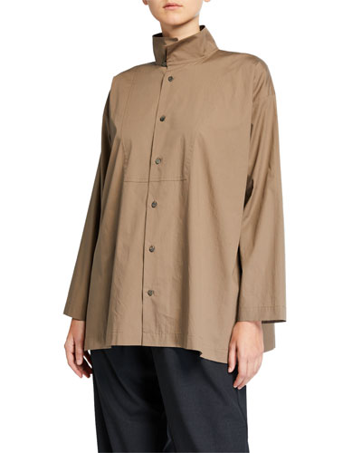Slim A-Line Two-Collar Shirt with Bib