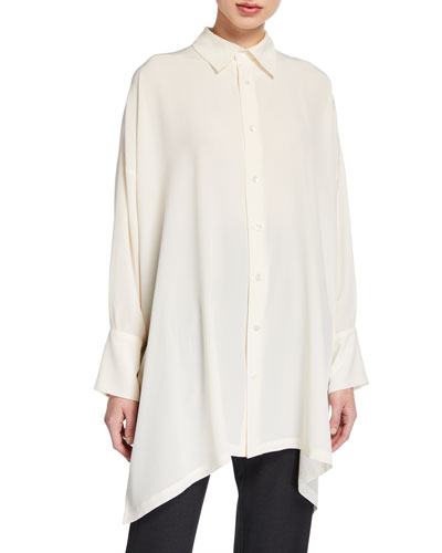 Wide A-Line Back-Pleated Shirt