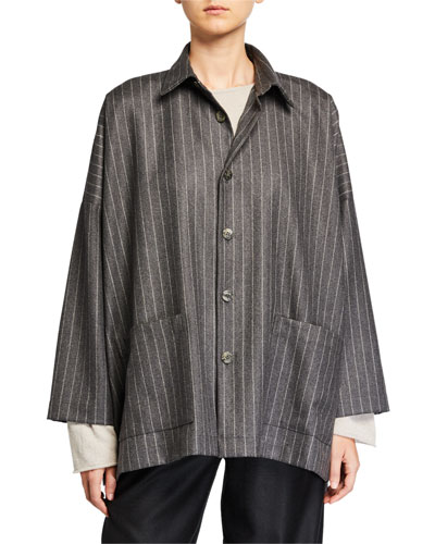 Wool-Cashmere Long-Back Jacket