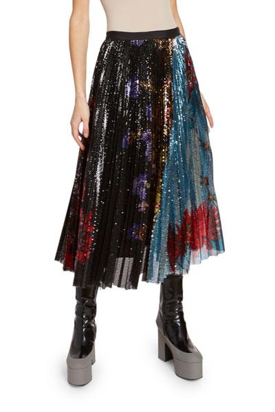 Sequined Pleated Midi Skirt
