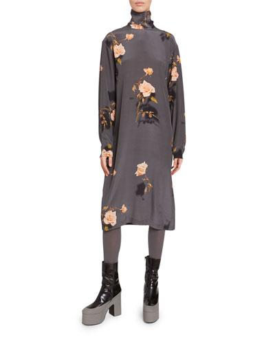 Rose Print Jersey High-Neck Midi Dress