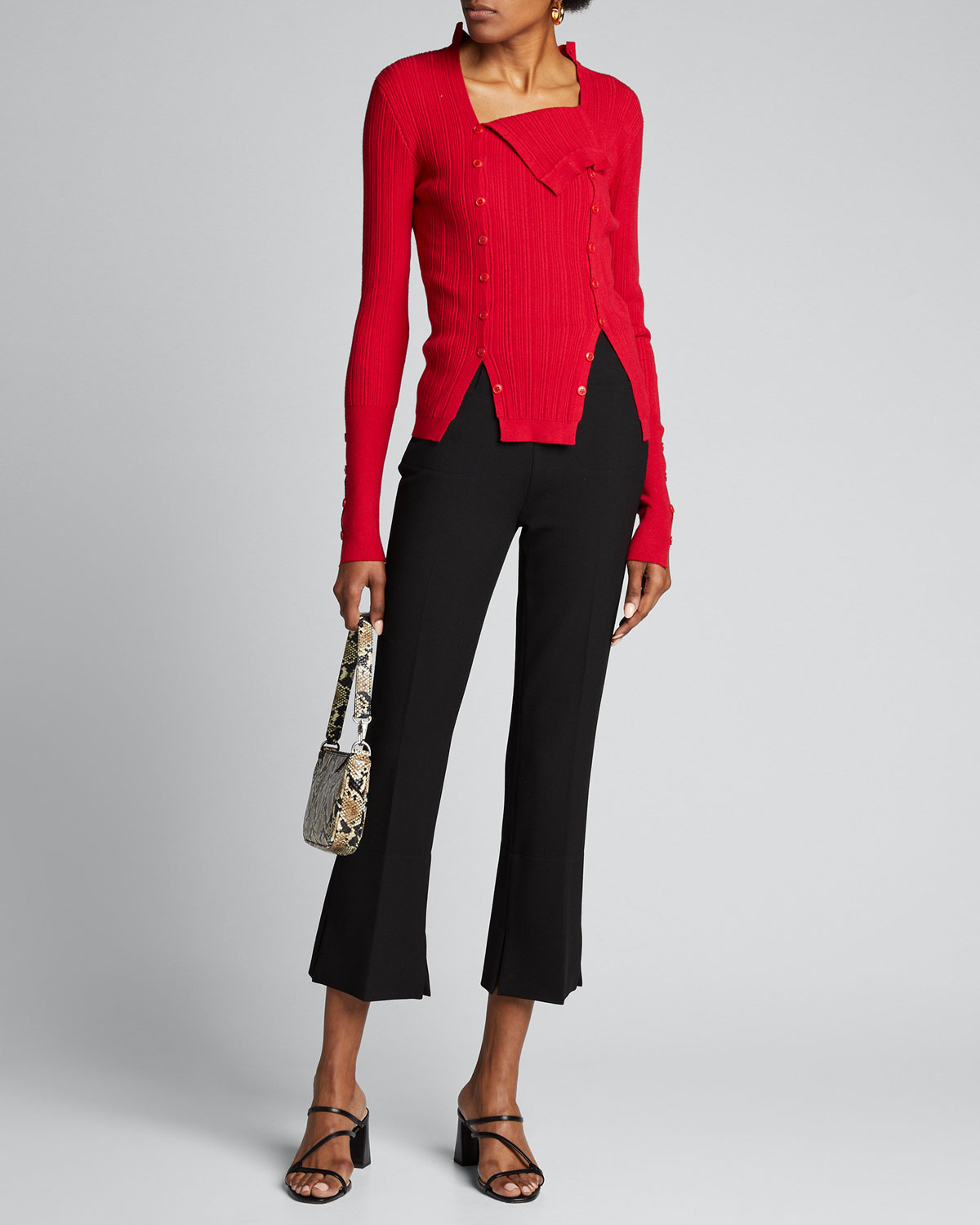 Jacquemus Sweaters BUTTON-SEAMED MOCK-NECK SWEATER