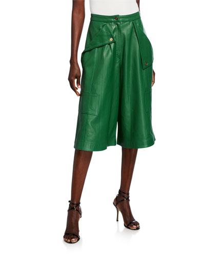 Belize Leather High-Rise Short Pants