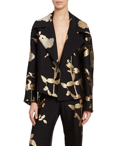 Foiled Floral Blazer Jacket