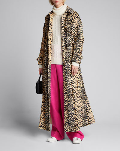 Animal-Print Trench Coat