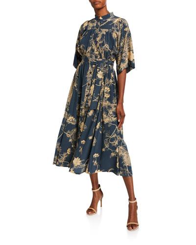 1/2-Sleeve Floral Print Pleated Silk Dress