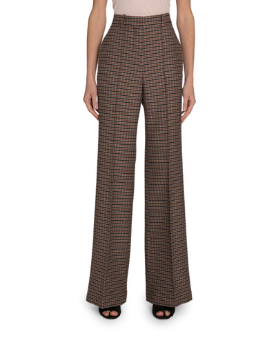 Checked Wool High Rise Wide-Leg Pants