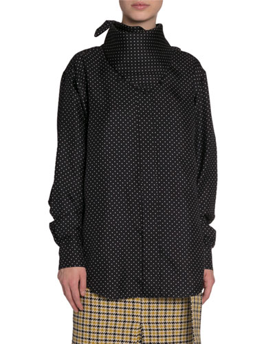 High-Neck Polka Dot Oversized Menswear Shirt