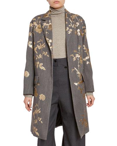 Metallic Floral Wool Coat