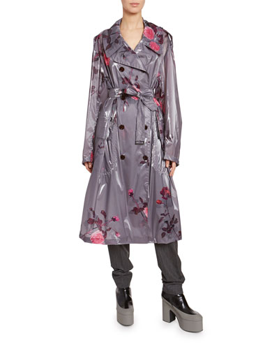 Floral-Print Faux-Leather Trench Coat