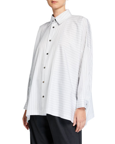Stripe Paneled Poplin Wide Shirt