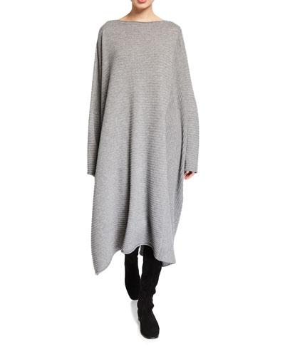 Cashmere Slim-Sleeve Kaftan Dress
