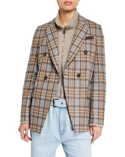 Checked Wool-Flannel Blazer Jacket
