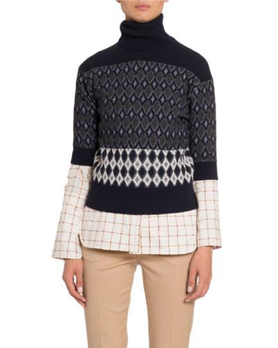 Colorblocked Wool Short-Sleeve Turtleneck Sweater