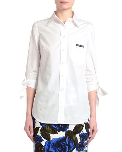Tie-Sleeve Button-Front Poplin Shirt