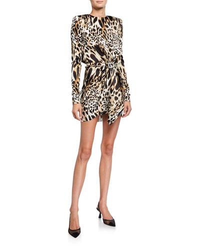 Animal-Print Stretch-Silk Belted Dress