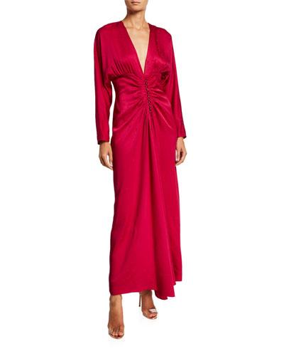 Animal-Print Satin Dress