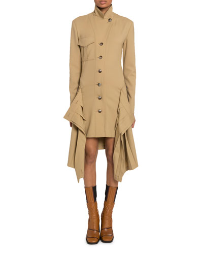 Draped-Side High-Neck Button-Front Coat