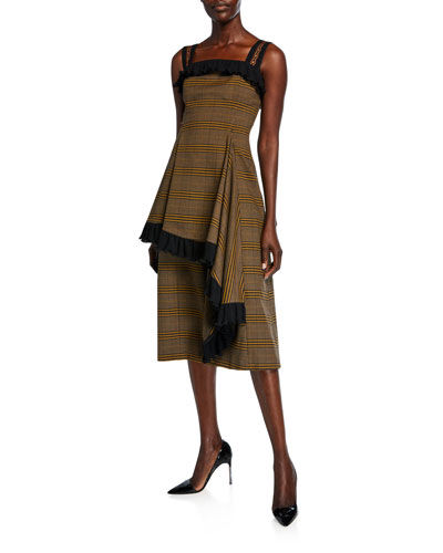 Plaid Asymmetric Ruffled Dress