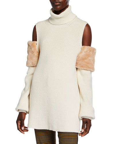 Faux-Fur Trimmed Cold-Shoulder Sweater