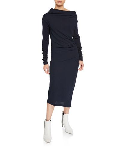 Wool Jersey Long-Sleeve Dress