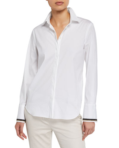 Monili-Cuffed Poplin Button-Front Shirt