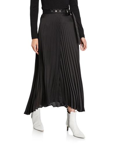 Pleated Wrap Skirt w/ Grommet Belt