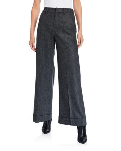 Flannel Wide-Leg Trousers