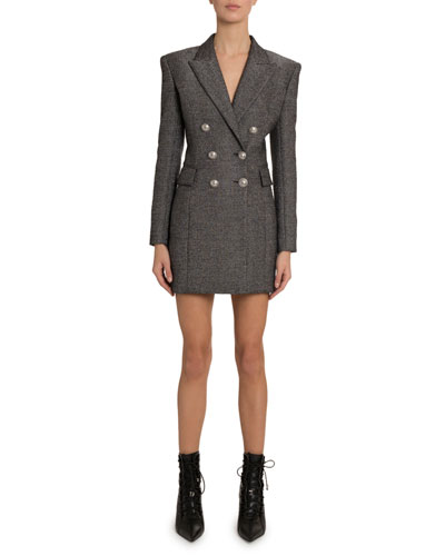 Double-Breasted Wool Blazer Dress