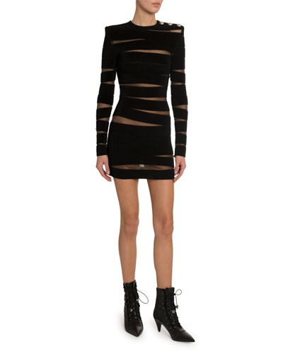 Long-Sleeve Paneled Sheer-Mesh Dress