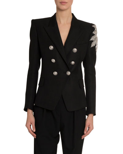 Embroidered Arm 6-Button Jersey Jacket