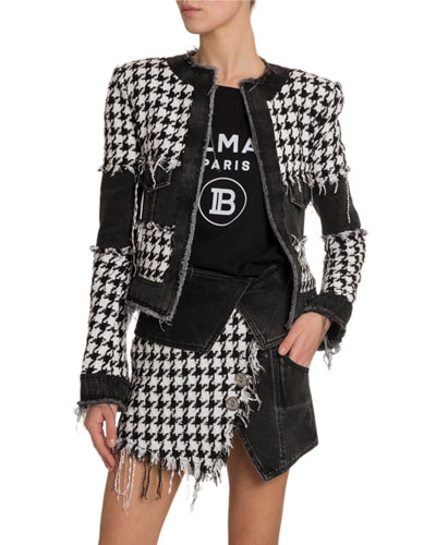 Houndstooth Denim Tweed Jacket
