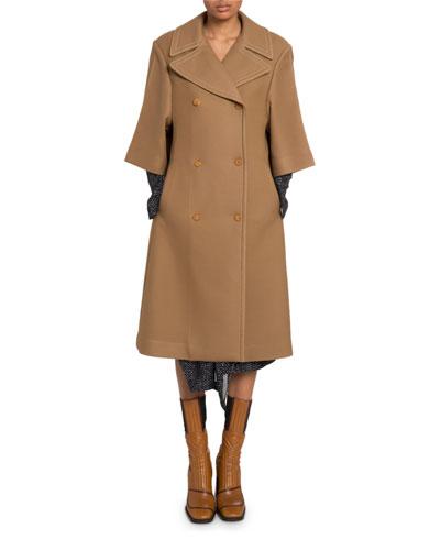 3/4-Sleeve Wool-Silk Coat