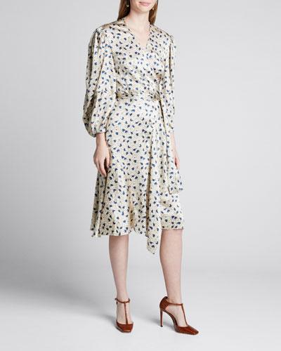 Silk 3/4-Sleeve Wrap Dress