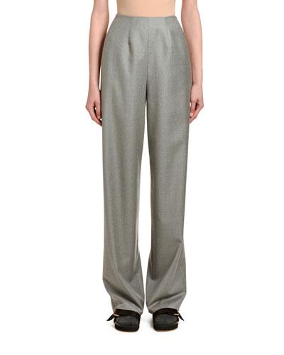 Wool-Cashmere Clean-Front Wide-Leg Pants