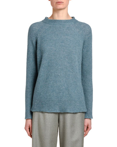 Fluffy Cashmere Silk Ribbed Sweater