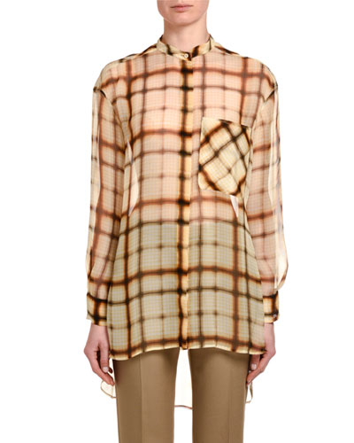 Plaid Silk Chiffon Button-Front Oversized Blouse