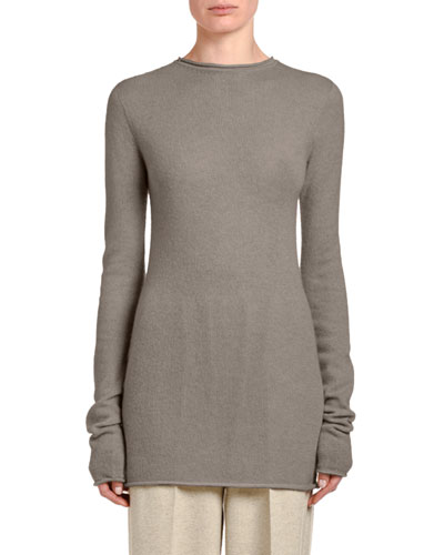 Long Round-Neck Cashmere Sweater