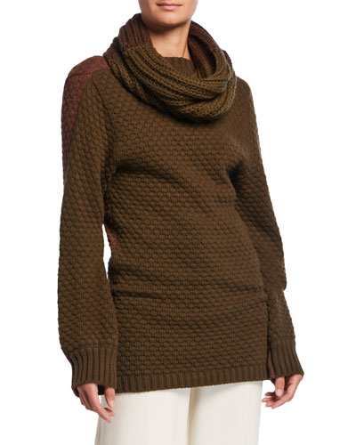 Ribbed Sweater w/ Removable Self Scarf