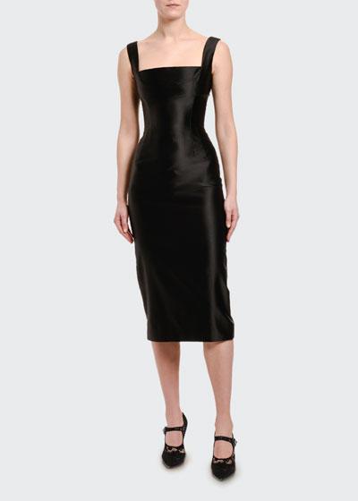 Stretch Duchesse Satin Square-Neck Dress