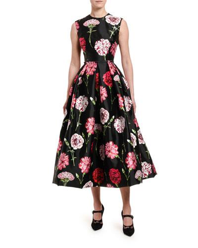 Floral-Print Taffeta Tea-Length Dress